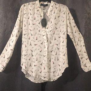 Lipstick printed silk chiffon blouse